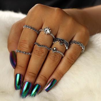 Set de 7 inele pentru femei, diverse forme, picatura, inima, coroana, cu ?trasuri