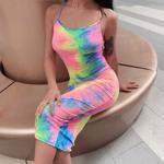 Rochie lunga de vara pentru femei, model nou cu bretele ?i imprimeu in culori pastel, model sexy casual