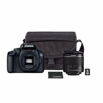 Pachet promo: Aparat foto DSLR Canon EOS 4000D,18.0 MP, Negru + Obiectiv EF-S 18-55mm F/3.5-5.6 III Negru + Geanta + Card de memorie 16 GB + Trepied foto telescopic A+ 215, universal 70-170 cm, negru
