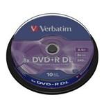 Mediu stocare Verbatim DVD+R 8.5GB Double Layer 8x Matt Silver spindle 10 buc