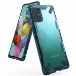 Protectie Spate Ringke FUSION X 8809688896835 pentru Samsung Galaxy A51 (Transparent/Albastru)