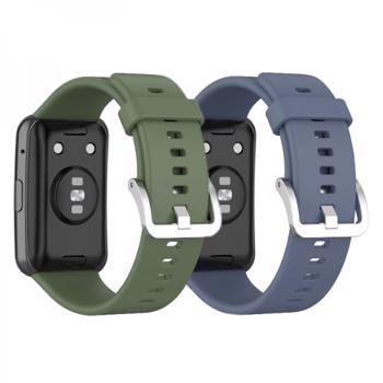 Set 2 curele din silicon pentru smartwatch Huawei Watch Fit khaki albastru