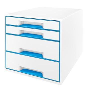 Cabinet cu sertare, 4 sertare, albastru, LEITZ WOW