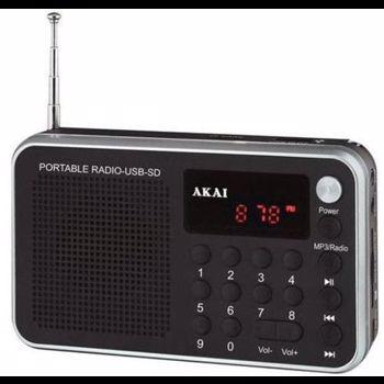 Radio portabil AKAI DR002A-521B , cu USB slot , SD/MMC/TF card slot ,antena FM telescopica , baterie reincarcabila , functie ceas alarma