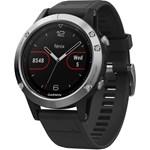 SmartWatch Garmin Fenix 5 argintiu, curea silicon negru GPS + HR