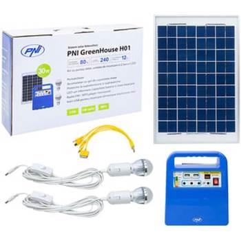Sistem solar fotovoltaic PNI GreenHouse H01, 30W, USB/Radio/MP3, cu acumulator 12V/7Ah, 2 becuri LED