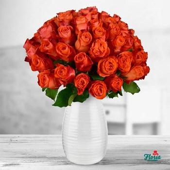 Buchet de 55 trandafiri portocalii