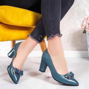 Pantofi dama cu toc gros Piele turcoaz Brimie-20