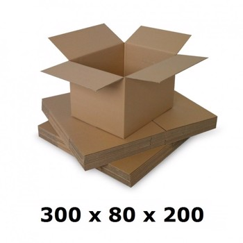 Cutie carton 300x80x200, natur, 3 starturi CO3, 435 g/mp