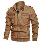 Jacheta din piele ecologica pentru barbati, model la moda, jacheta cu captu?eala din plu? potrivita pentru sezonul de primavara ?i toamna