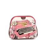 """Geanta pentru cosmetice Disaster cu imprimeu """"masina de scris"""" roz cu alb"""