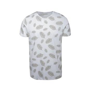 Tricou alb Jack & Jones Leaf cu imprimeu in contrast