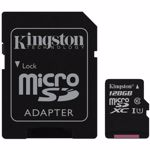 Micro Secure Digital Card Kingston, 128GB, SDC10G2/128GB, Clasa 10, R/W 45/10 MB/s, cu adaptor SD