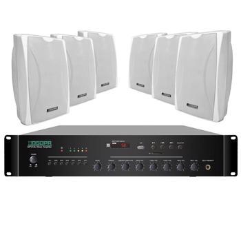 Sistem de sonorizare sala fitness ambiental, 120W, P.A, Alb