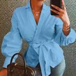 Bluza culoare uni pentru femei, pentru primavara ?i vara, cu maneca evazata, bluza moderna casual