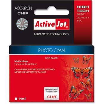 Consumabil ActiveJet Cartus compatibil Canon CLI-8PC Photo Cyan cu cip marca (14 ml)