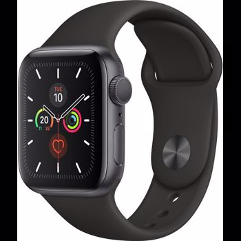 "Smartwatch Apple Watch 5, LTPO OLED Capacitive touchscreen 1.78"", Bluetooth, Wi-Fi, Bratara Silicon 44mm, Carcasa Aluminiu, Rezistent la apa si praf (Negru)"
