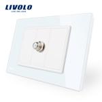 Priza TV satelit Livolo cu rama din sticla - standard italian Alb vl-c391st-81