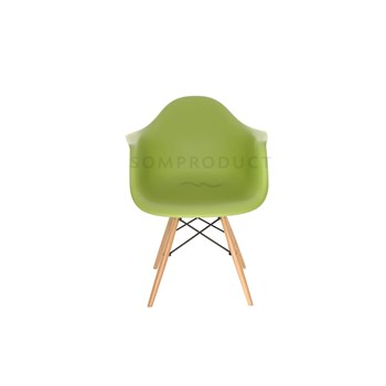 Scaun din plastic cu picioare din lemn Tingo Green, l62xA46xH83 cm