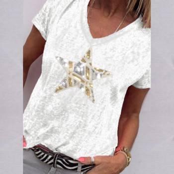 Tricou modern pentru femei, cu decolteu in V ?i imprimeu de stea, cu maneca scurta