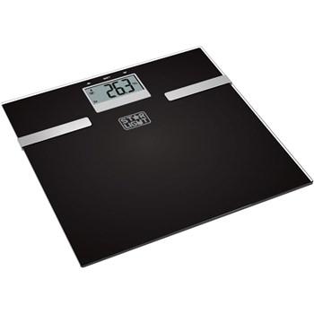 Cantar corporal de diagnostic , 150 kg, functie BMI, Sticla, Negru/Inox