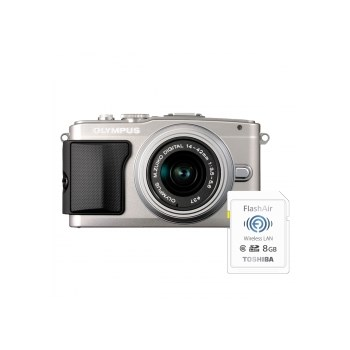 Aparat foto Mirrorless Olympus E-PL5 argintiu + Obiectiv M.ZUIKO Digital 14-42mm f/3.5-5.6 II R argintiu