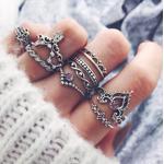 Set de 10 inele boeme, filigranate, vintage, in forma de picatura de apa, cu cristal mov, inele pentru femei, bijuterii de oferit cadou