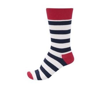 Sosete rosu, alb si negru in dungi Happy Socks Stripe