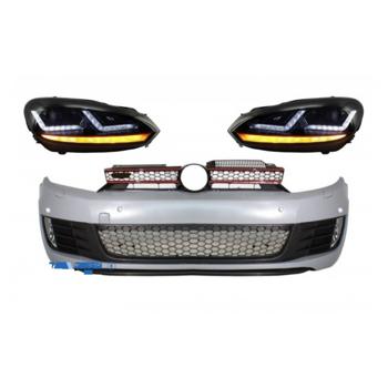 Ansamblu bara fata compatibil cu VW Golf VI 6 (2008-2013) cu faruri Osram Xenon Upgrade Red GTI LED semnal dinamic secvential