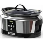 Slow cooker , 5.7 l, 2 Setari gatit, Functie pastrare la cald, Display electronic, Timer, Vas de ceramica detasabil, Argintiu