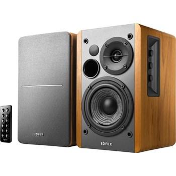 Edifier RMS: 42W (21W x 2), volum, bass, treble, telecomanda wireless, optical, bluetooth, brown