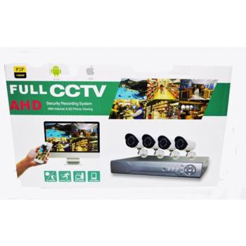 Sistem de supraveghere FULL HD CCTV kit DVR 4 camere exterior/interior, pachet complet, HDMI, internet, vizionare pe smartphone