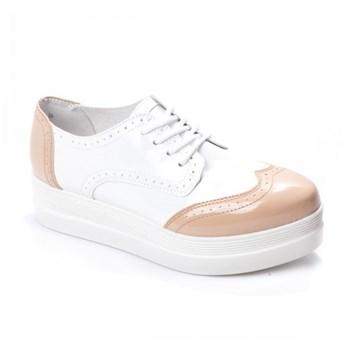Pantofi dama Piele Nilda alb-camel casual