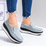 Pantofi dama casual piele naturala gri Parisa-rl