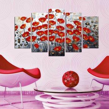 Tablou decorativ multicanvas Charm, 5 Piese, Camp cu maci, 223CHR1936, Multicolor
