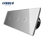 Intrerupator cu touch simplu+simplu+dublu LIVOLO din sticla Gri vl-c701/701/702-15