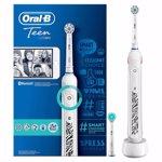 Periuta de dinti electrica Oral-B Smart 6, 40000 pulsatii/min, 8800 oscilatii/min, Curatare 3D, 5 programe, 2 capete, Bluetooth, Trusa de calatorie, Alb/Albastru