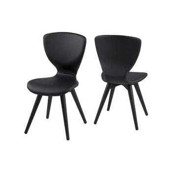 Set 2 scaune din lemn tapitate Gongli All Black