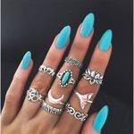 Set de 9 inele vintage, pentru incheieturile degetelor, modern, cu diverse pietre si forme, culoarea argintului, inele boho din gama bijuteriilor pentru femei