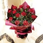 Buchet 11 trandafiri rosii ambalat