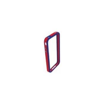 Husa Blautel BLTBUTPRA Bumper cu folie protectie pentru iPhone 4/4S (Rosu/Albastru)