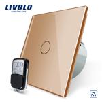 Intrerupator simplu cu touch Livolo, Wireless, Telecomanda inclusa, Auriu