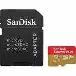 Card de memorie SANDISK Extreme Plus, microSDHC, 32GB, 95MB/s, clasa 10 V30, adaptor