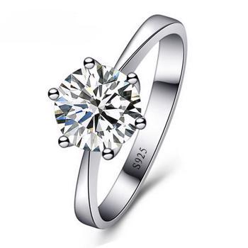 Inele romantice, cu zircnou cubic, inele din gama bijuteriilor pentru femei, cu piatra prinsa cu sase gheare