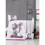 Set lenjerie de pat pentru copii, Victoria, bumbac ranforce, 100 x 150 cm, 121VCT2037, Alb