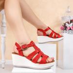 Sandale dama cu platforma rosii Nomelia