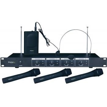 Set 4 microfoane wireless 3 de mana + 1 casca Ibiza VHF4