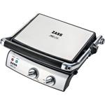 Grill electric Zass Grill & Panini Chef ZPG 02, Putere 2000W, Placi detasbile, Dimensiuni placi 29×23 cm, Deschidere la 180°, Utilizare pentru friptura, peste, legume, sandwich, panini, Carcasa Inox
