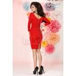 Rochie midi rosie cu maneca lunga