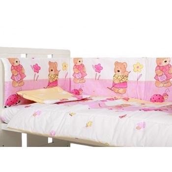 Lenjerie patut cu 5 piese Ursuletul fericit roz